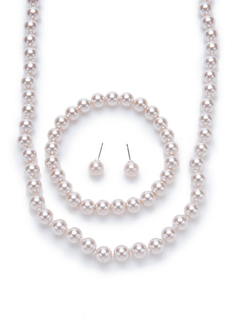 Kim Rogers® Silver-Tone Mauve Pearl Necklace, Earring, and