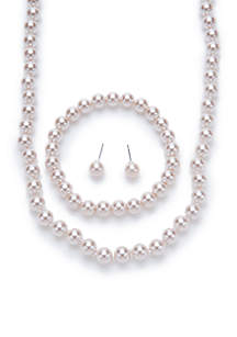 Silver-Tone Mauve Pearl Necklace, Earring, and Bracelet Set