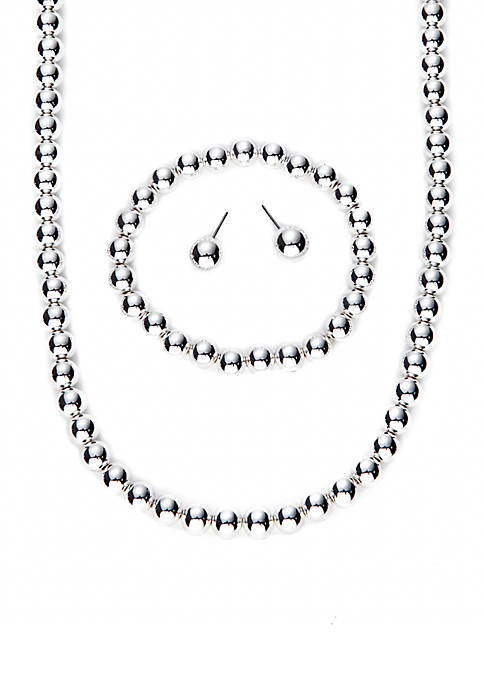 Silver-Tone Bead Necklace, Bracelet and Stud Earring Set
