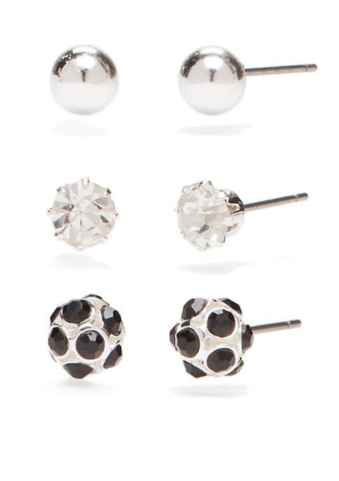 Pearl Jet Fireball Trio Earrings