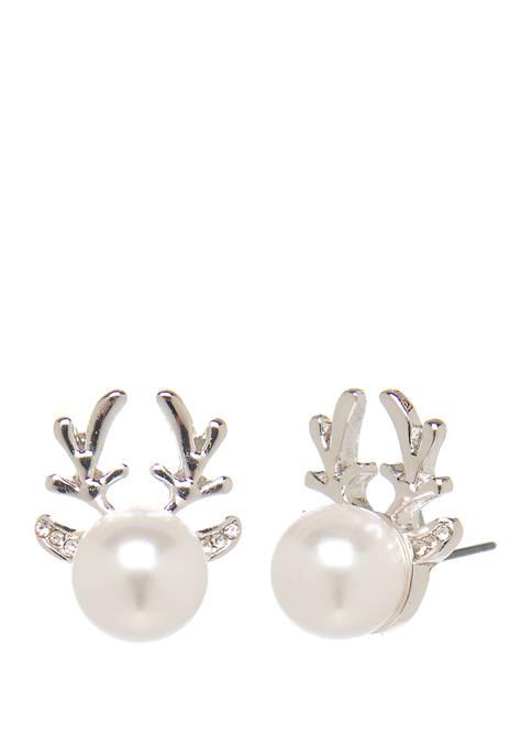 Joyland Silver Tone Reindeer Antler Pearl Stud Earrings