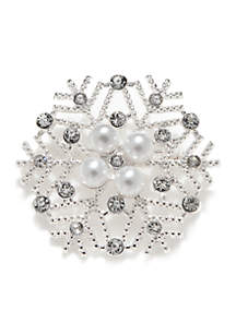 Silver Holiday Snowflake With Pearl Pin