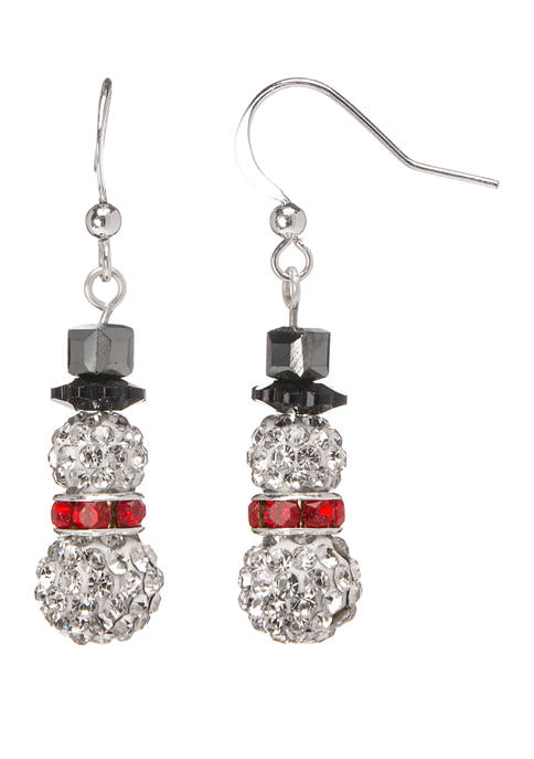 Joyland Silver Tone Pave Snowman Drop Earrings
