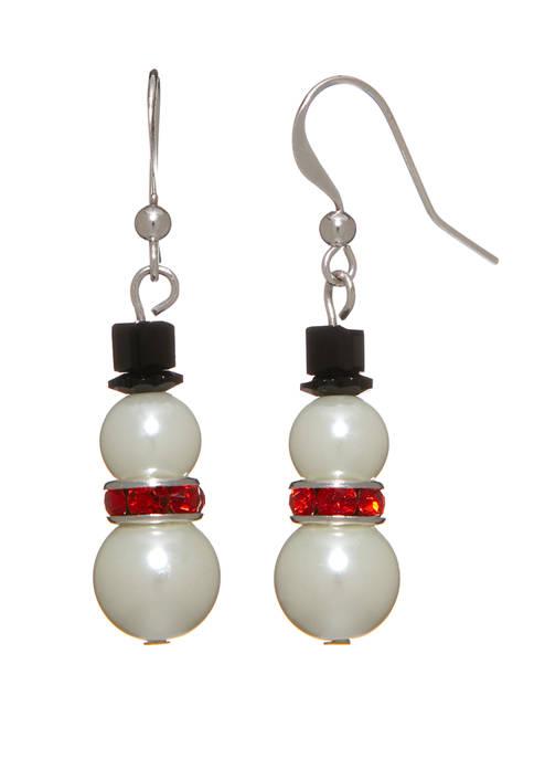 Kim Rogers® Silver Tone Pearl Snowman Drop Earrings