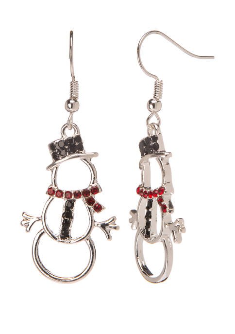 Joyland Silver Tone Snowman Outline Drop Earrings