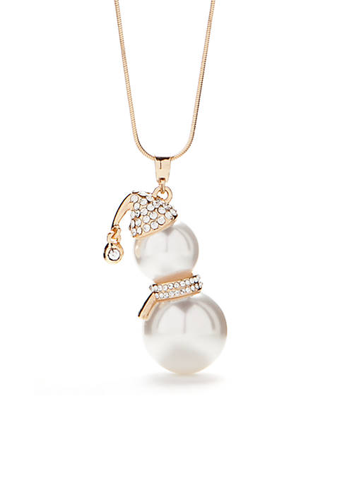 Kim Rogers® Long Gold Pearl Snowman Pendant Necklace