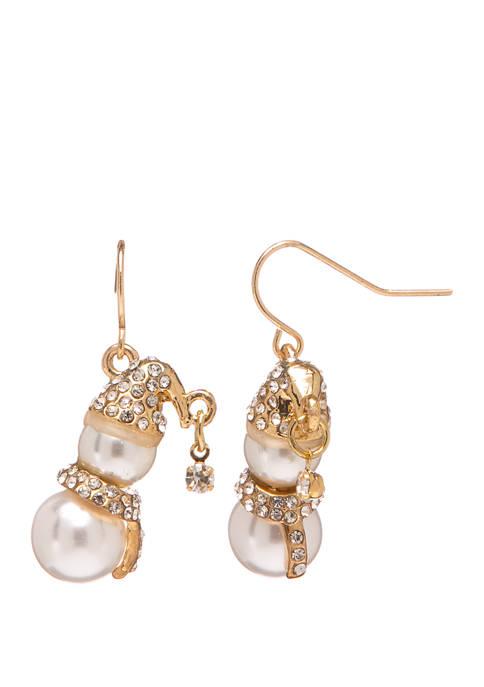 Joyland Gold Tone Mini Snowman Drop Earrings