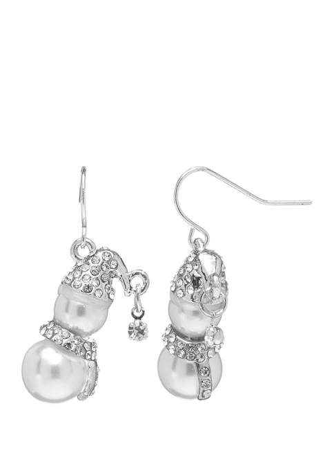 Joyland Silver Tone Mini Snowman Drop Earrings