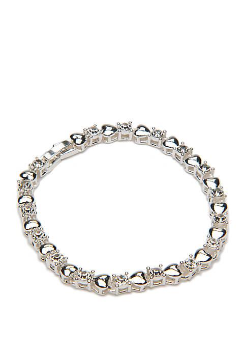 Silver Tone Heart Crystal Tennis Bracelet