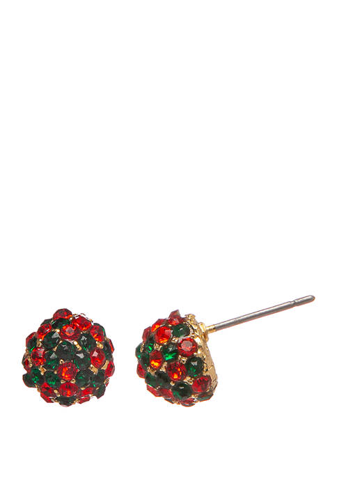 Joyland Holiday Gold Tone Red Green Pave Stud