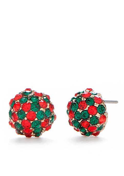 Kim Rogers® Gold Tone Red Green Pave Holiday