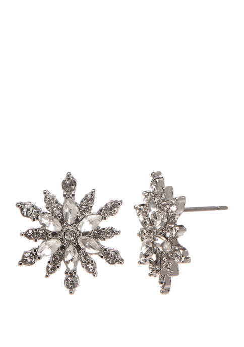 Joyland Silver Tone Snowflake Stud Earrings