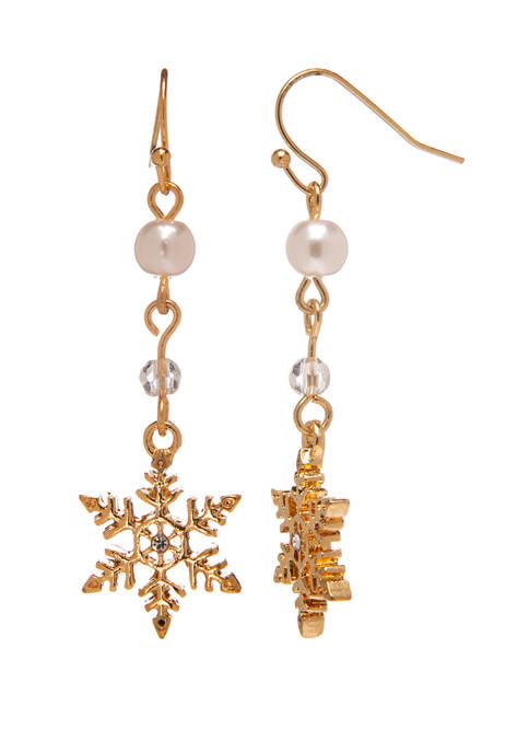 Joyland Gold Tone Pearl Snowflake Drop Earrings