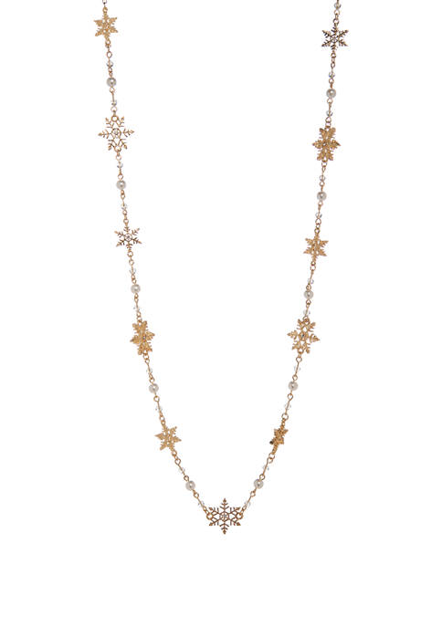 Joyland Gold Tone Long Snowflake Pearl Necklace