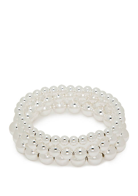 Silver Tone Ball 3 Piece Bracelet Set