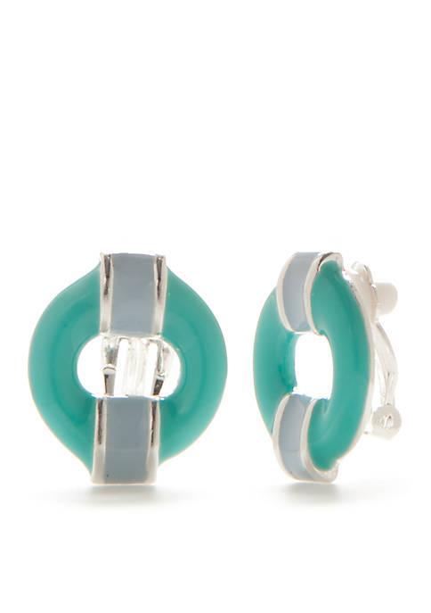 Silver-tone Enamel Circle Clip Earring