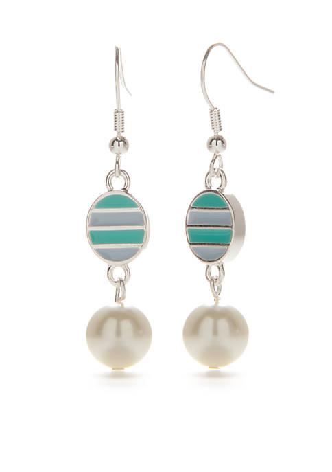 Kim Rogers® Silver-Tone Enamel Stripe Pearl Drop Earring