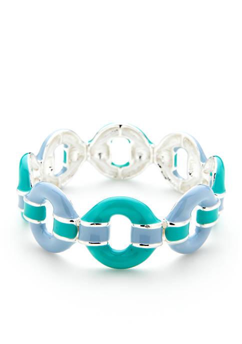 Silver-Tone Circle Stretch Bracelet