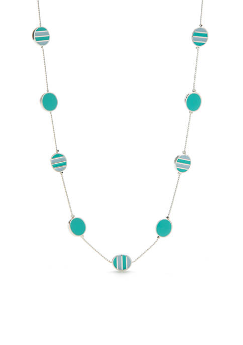 Silver-Tone Enamel Oval Necklace