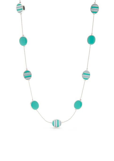 Silver-Tone Enamel Short Oval Necklace