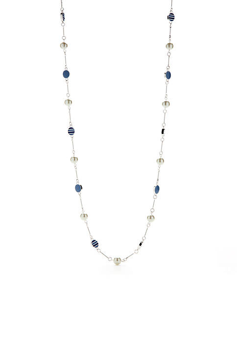 Silver-Tone Blue Oval Long Necklace