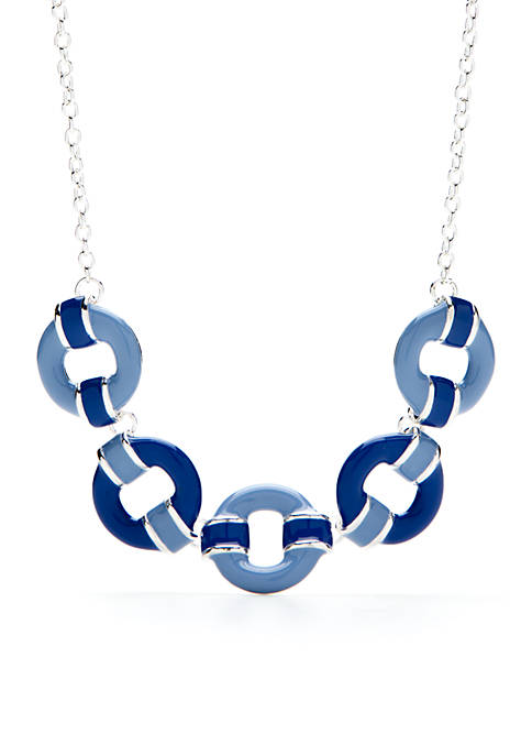 Kim Rogers® Silver-Tone Circle Statement Necklace