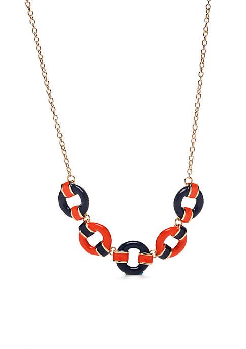 Gold-Tone Orange and Navy Circle Necklace