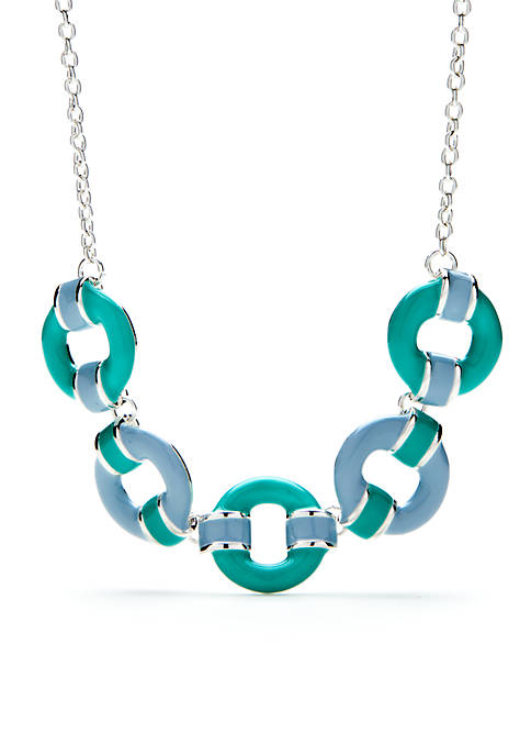 Silver-Tone Circle Statement Necklace