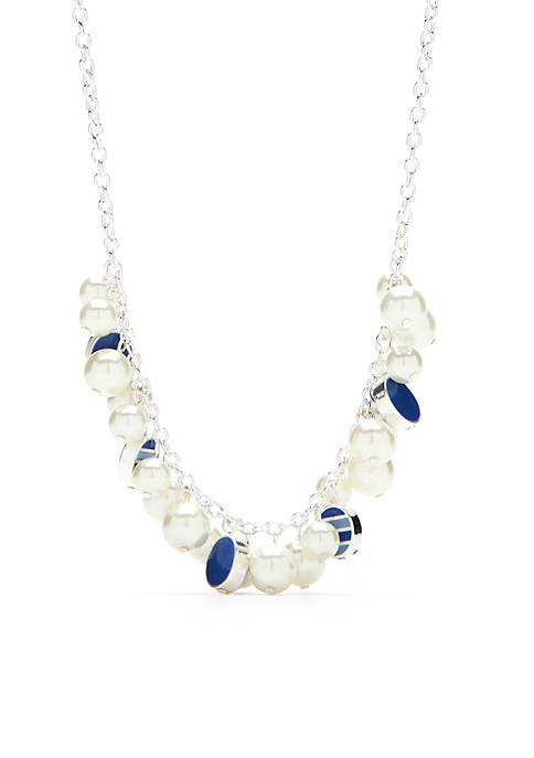 Silver-Tone Pearl Bauble Necklace