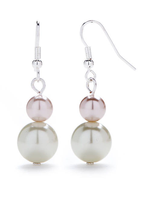 Kim Rogers® Silver-Tone Graduated Pearl Drop Earrings