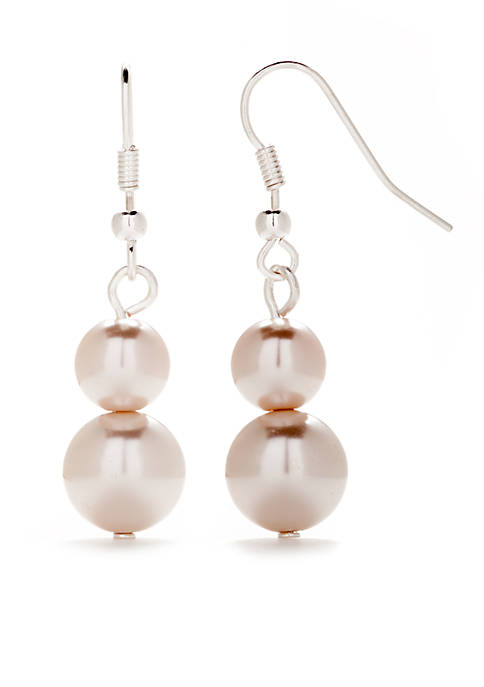 Kim Rogers® Silver-Tone Graduated Pearl Mauve Drop Earrings