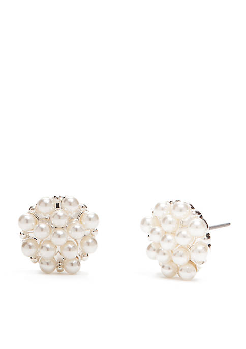 Silver-Tone Pearl Cluster Button Earrings