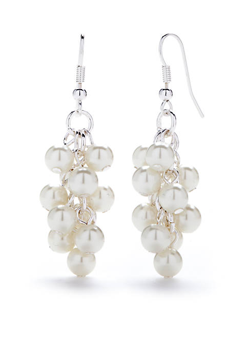 Kim Rogers® Silver-Tone Large Cascade White Pearl Earrings