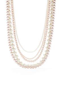 Silver-Tone Multi Strand Mauve and White Pearl Necklace