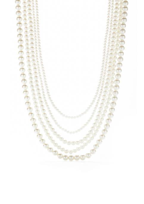 Silver-Tone Multi-Strand Pearl Necklace