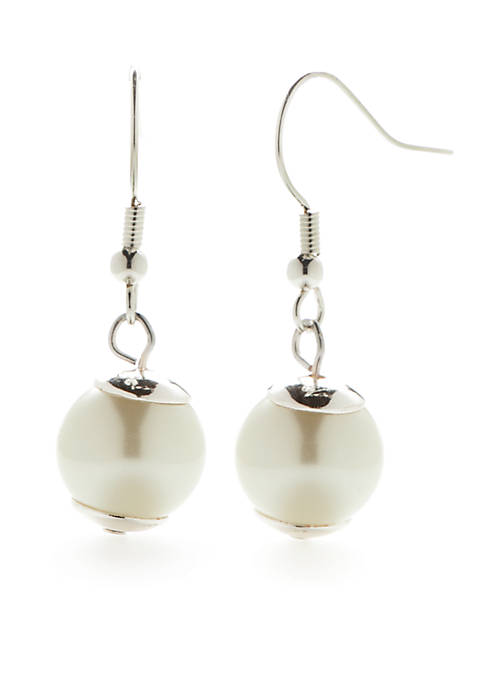Kim Rogers® Silver-Tone Pearl Drop Earrings