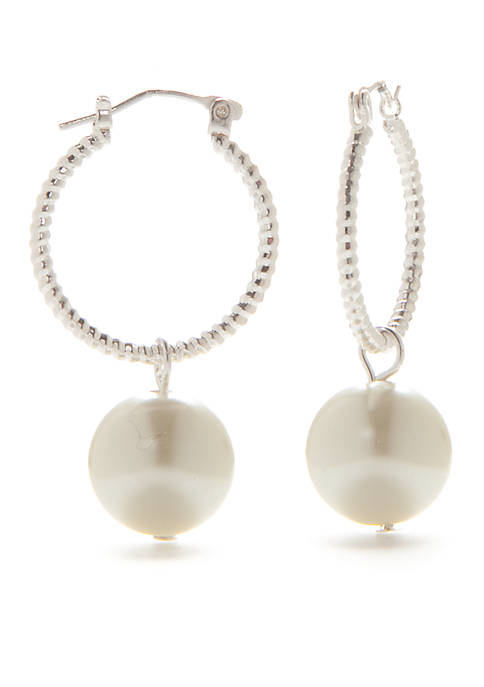 Kim Rogers® Silver-Tone Hoop with Pearl Earrings