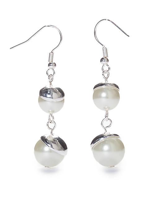 Kim Rogers® Double Pearl Drop Pierced Earrings