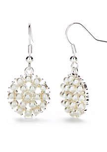 Silver Tone Micro Pearl Cluster Earrings