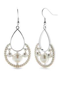 Silver Tone Micro Pearl Chandelier Earrings