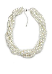 Kim Rogers® Silver Tone Pearl 5 Strand Torsade Necklace