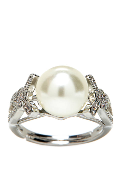 Kim Rogers® Silver Crystal Pearl Adjustable Ring