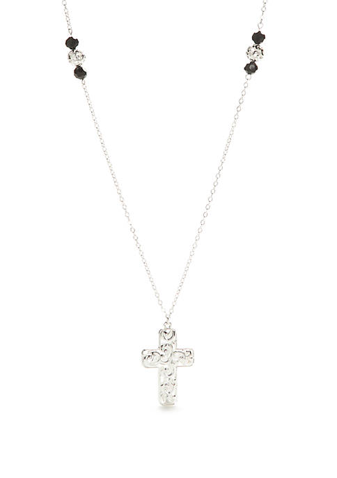Kim Rogers® Silver Tone Open Cross Pendant Necklace