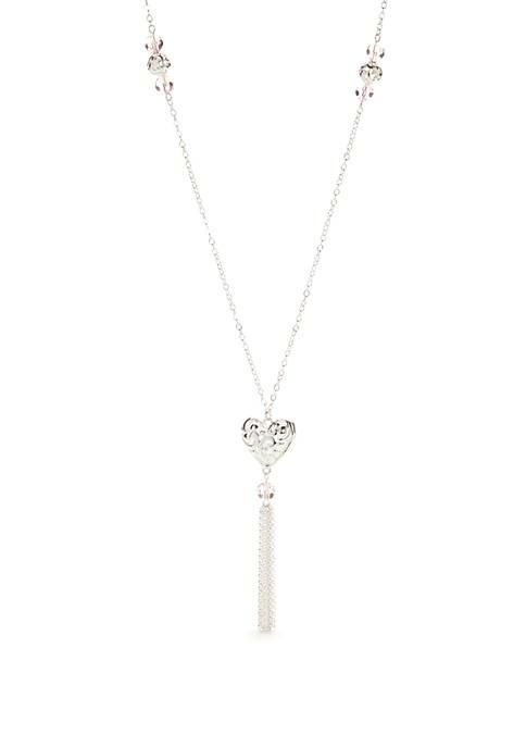 Kim Rogers® Silver Tone Open Heart Pendant Necklace