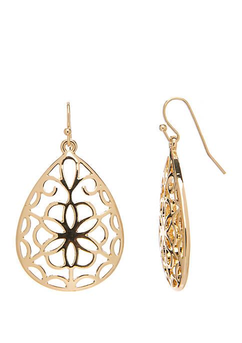 Kim Rogers® Open Carved Teardrop Earrings