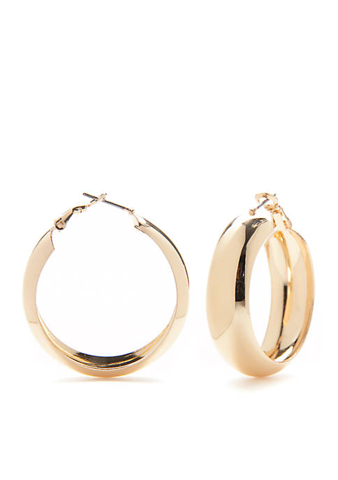Kim Rogers® Gold-Tone Wide Hoop Earrings
