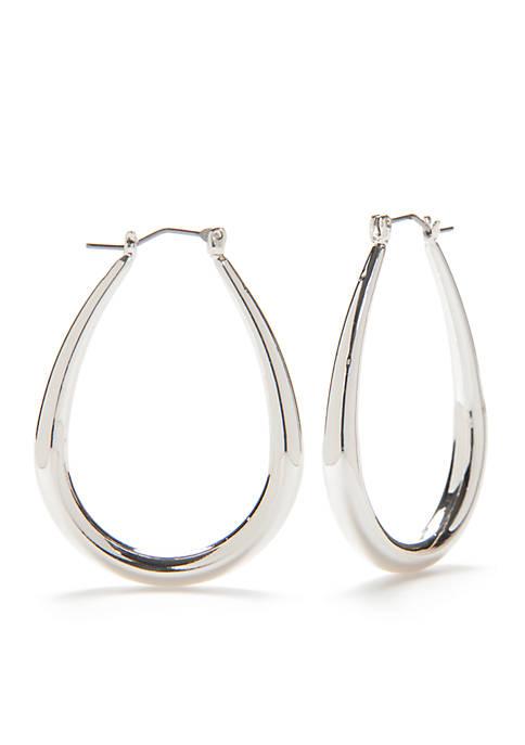 Belk Silver-Tone Sensitive Skin Oval Hoop Earrings