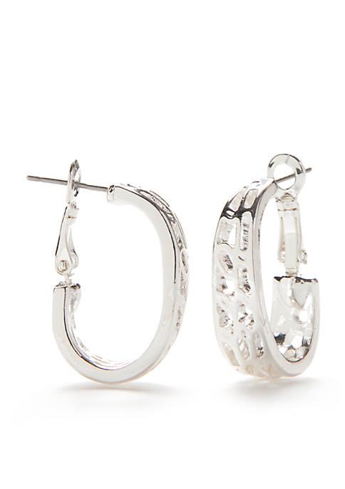 Silver Tone Sensitive Skin Textured Hoop Earrings