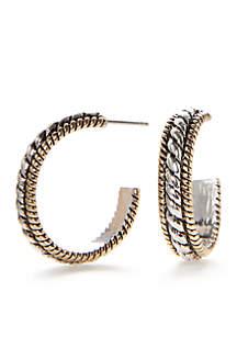 Kim Rogers® Two Tone Sensitive Skin Adeline C Hoop Earrings