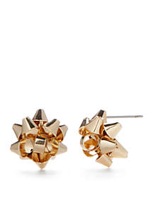 Gold-Tone Christmas Bow Earrings